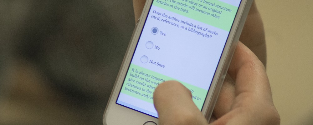 Close-up of Qualtrics survey on a mobile phone