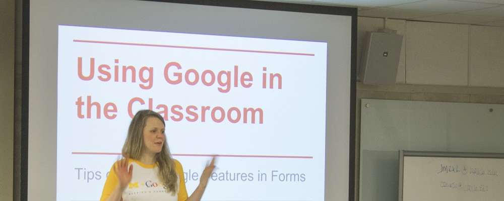 ITS staff teaching a hands-on Google session